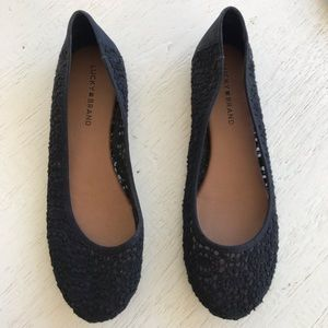 Lucky brand black flats shoes 9 like new